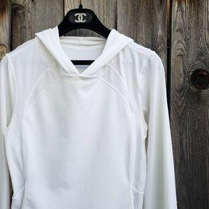 Lululemon White Drawstring Hem Hooded Jacket